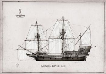 1578 Golden Hinde pen ink study